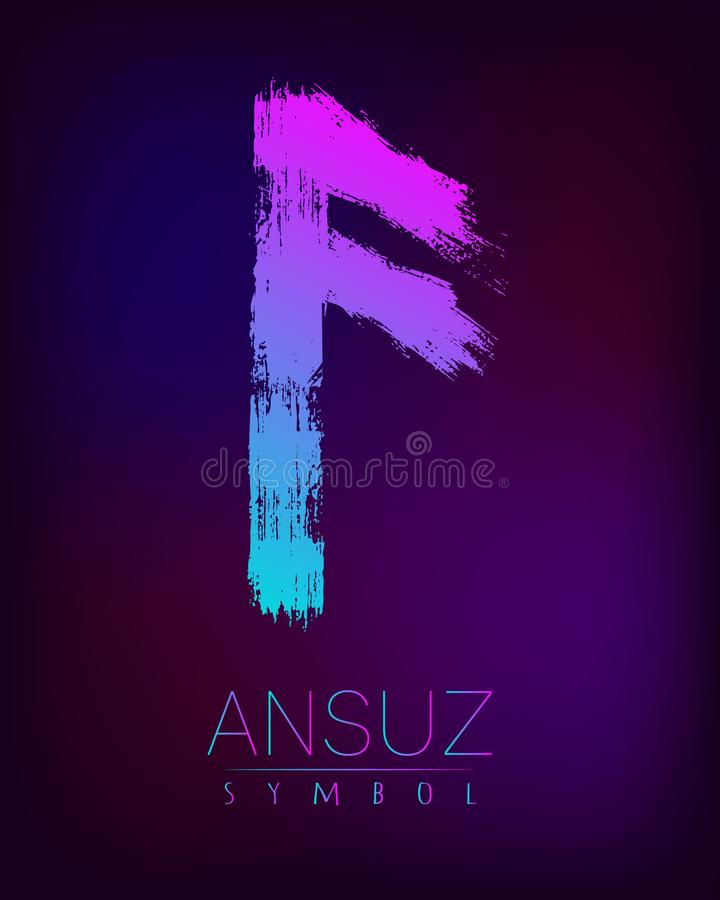Free Rune Scandinavia Is A Ansuz Riches Vector Illustration. Symbol Of Futhark Letters. Brush Stripes With Trend Gradient Royalty Free Stock Photo - 102959925