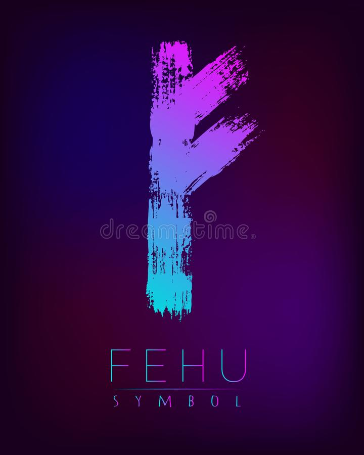 Free Rune Scandinavia Is A Fehu Riches Vector Illustration. Symbol Of Futhark Letters. Brush Stripes With Trend Gradient Blue Stock Image - 102425641