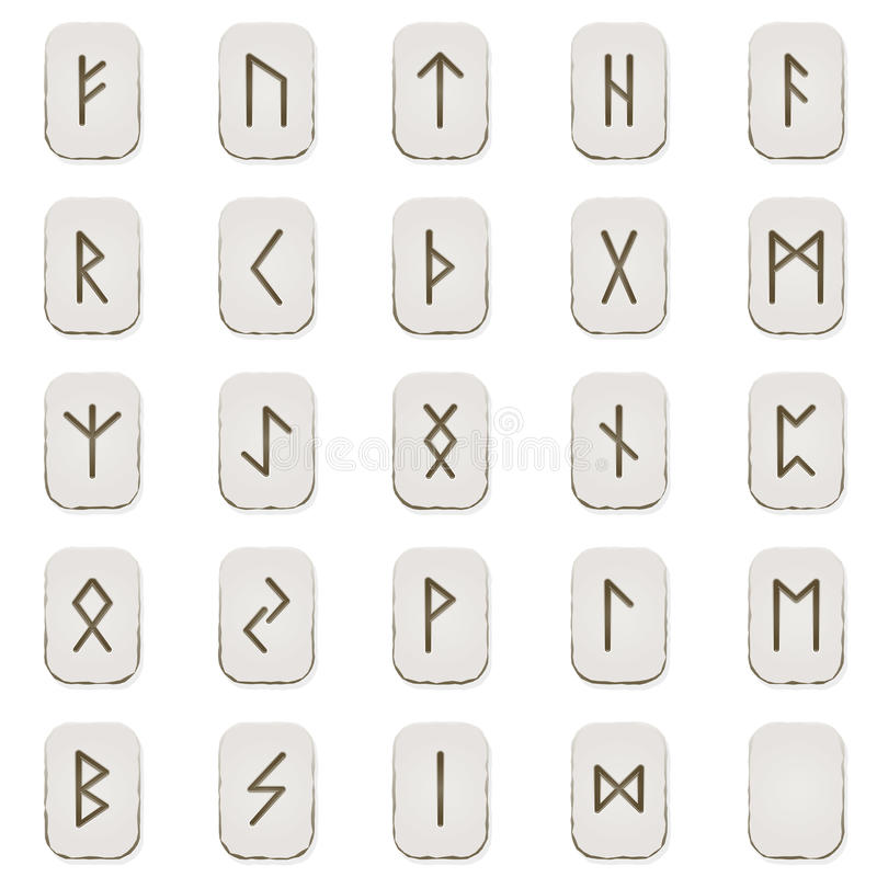 Rune set. Complete set of runes engraved on stone tablets royalty free illustration