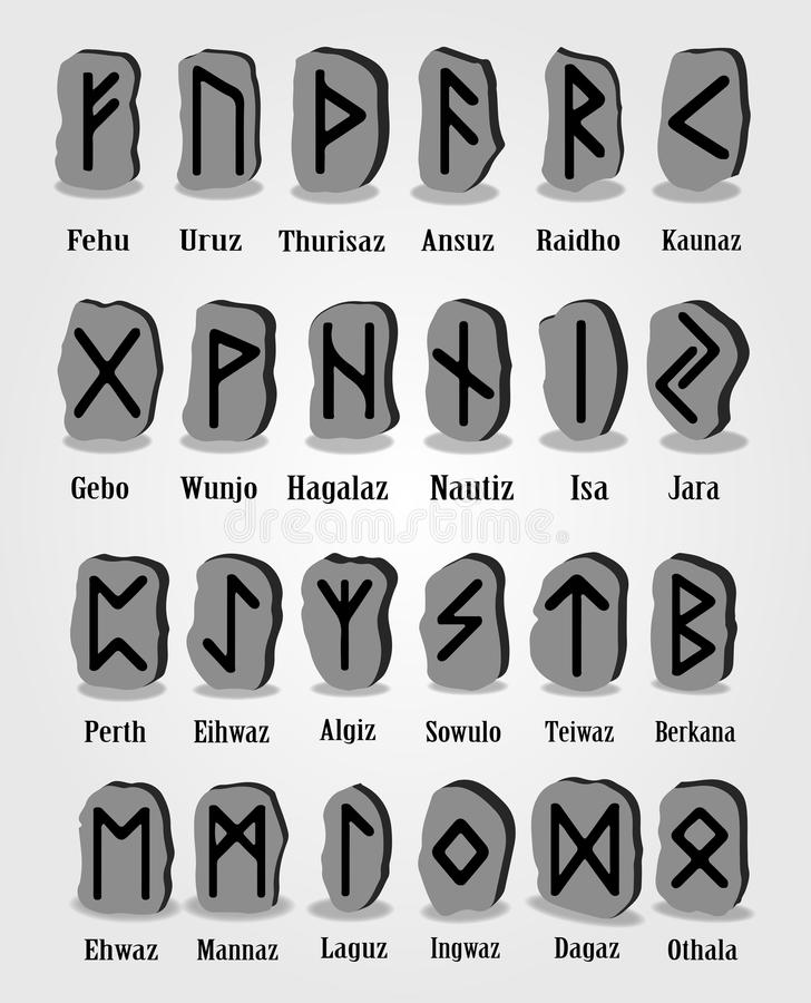 Rune set of letters, runes alphabet. Runic alphabet. Writing ancient. Futhark. Vector illustration. Set of old norse scandinavian runes carved in stone. Runic royalty free illustration