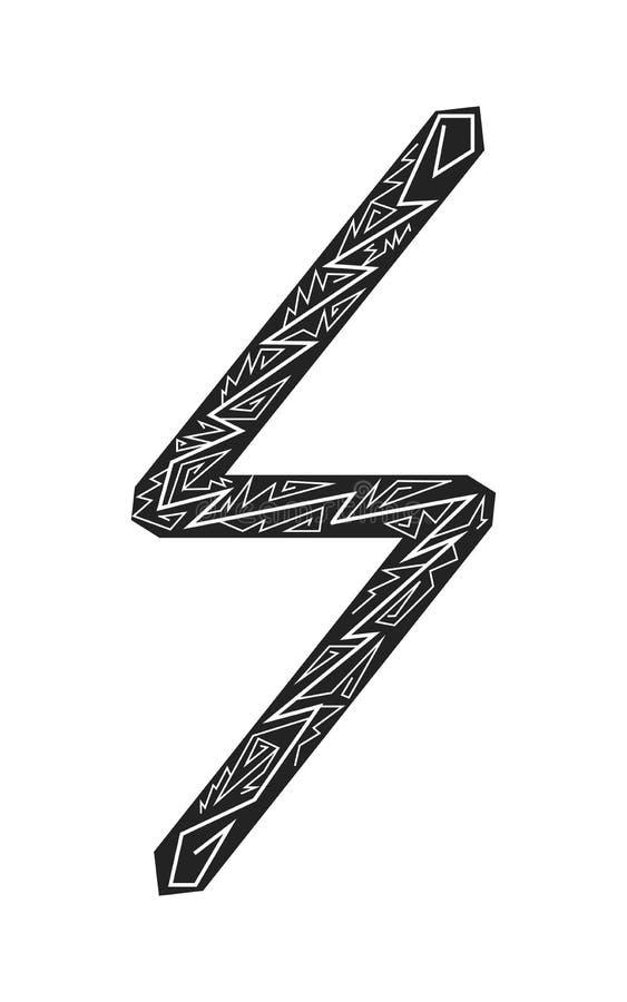 Rune sowulo. Ancient Scandinavian runes. Runes senior futarka. Magic, ceremonies, religious symbols. Predictions and amulets. Ornament lightning. White royalty free illustration