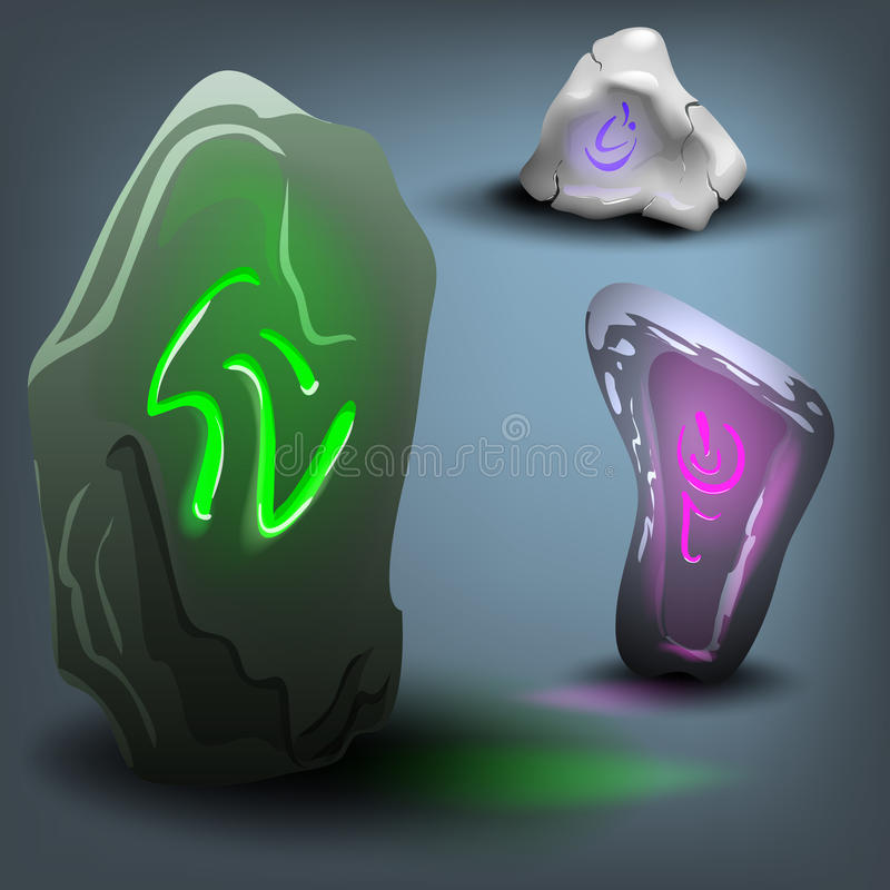 Rune stone set. Vector illustration. Vector illustration of cartoon rune stone set royalty free illustration