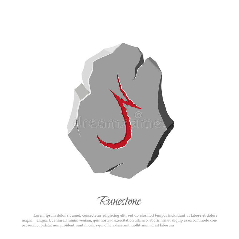 Rune stone on a white background in cartoon style. The object to the game interface. Vector illustration stock illustration