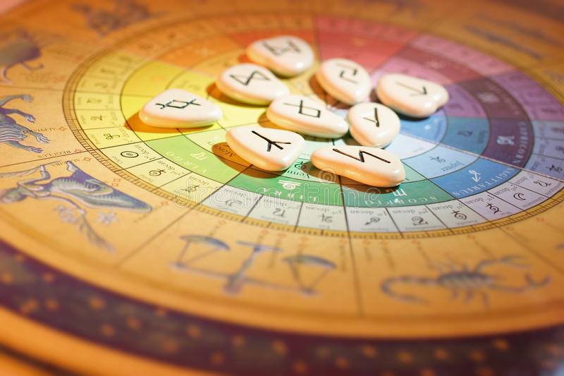 Rune Stones and Zodiac Wheel. In Warm Cast stock photography