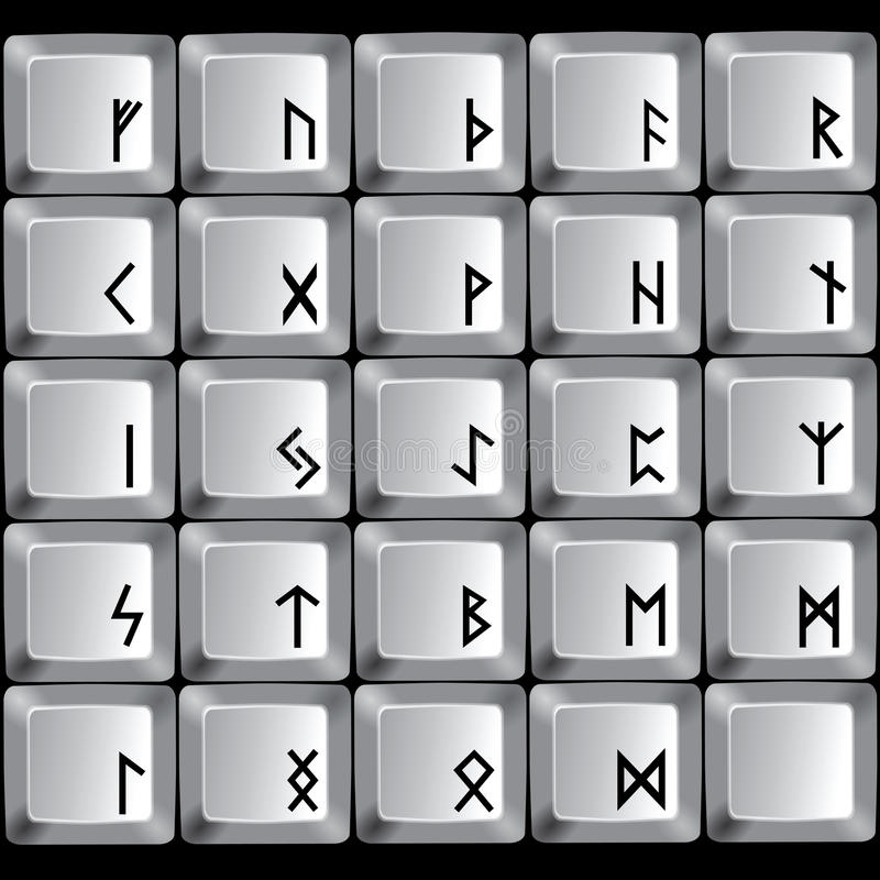 Rune symbols. On the buttons of a computer keyboard. Vector illustration stock illustration