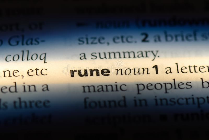 Rune. Word in a dictionary.  concept royalty free stock photo