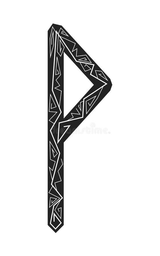 Rune Wunjo. Ancient Scandinavian runes. Runes senior futarka. Magic, ceremonies, religious symbols. Predictions and amulets. Ornament lightning. White royalty free illustration