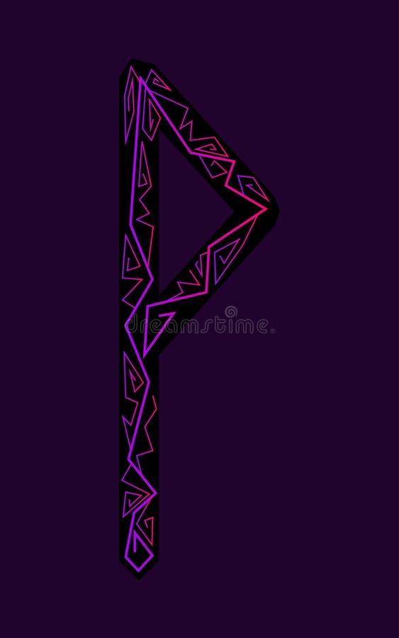 Rune Wunjo. Ancient Scandinavian runes. Runes senior futarka. Magic, ceremonies, religious symbols. Predictions and amulets. Ornament lightning. Dark stock illustration
