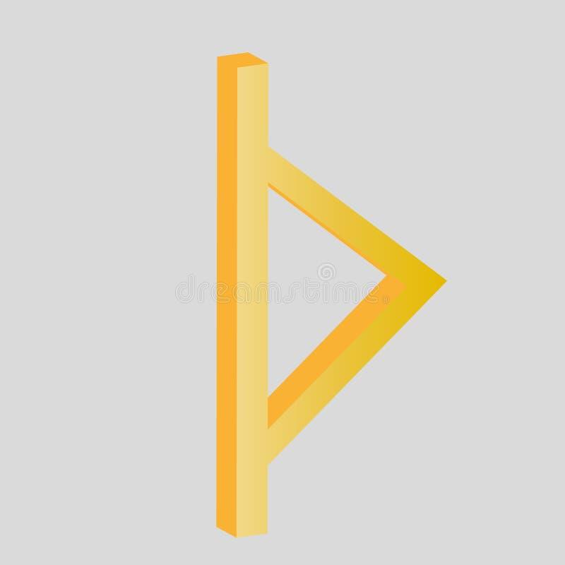 Runen-Rune auf der Zahl 3D stock abbildung