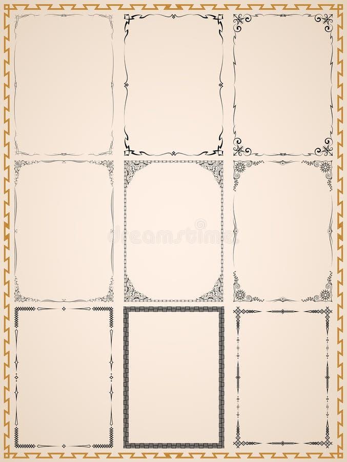 Runen- uitstekende kaders vector illustratie