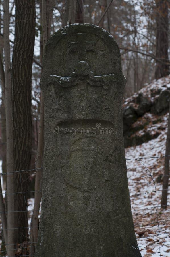 Runenstein im Wald stockfotos