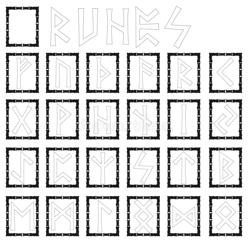 Runes. Alphabet in the form of symbols with ornaments in the Celtic style. Black frame. vector illustration