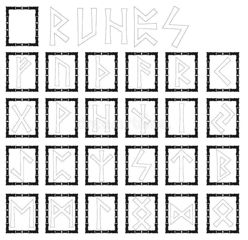 runes Alphabet in Form von Symbolen mit Verzierungen in der keltischen Art Schwarzes Feld vektor abbildung