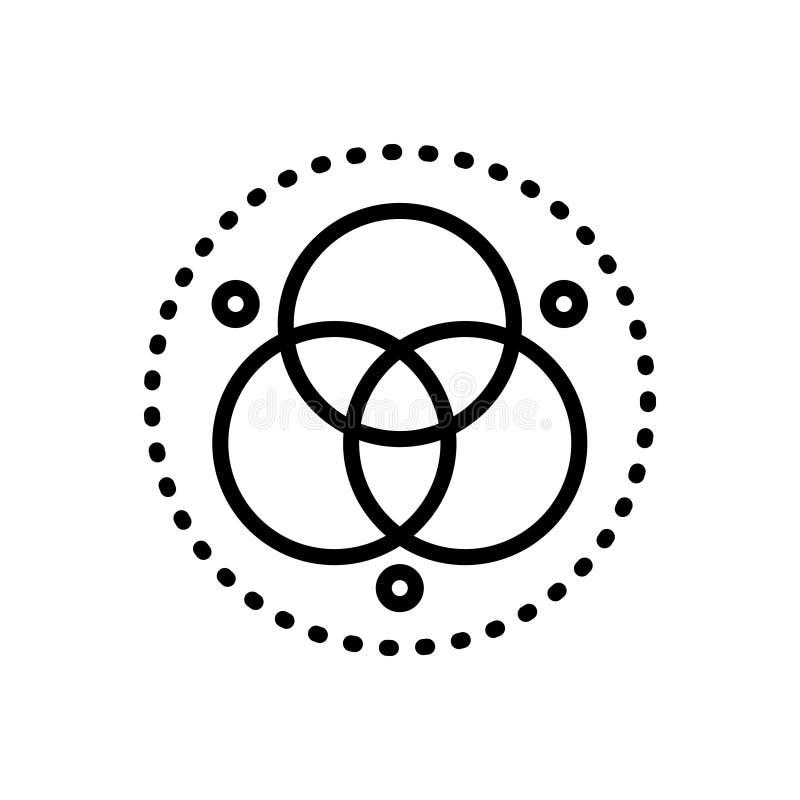 Black line icon for Runes, symbole and circle royalty free illustration