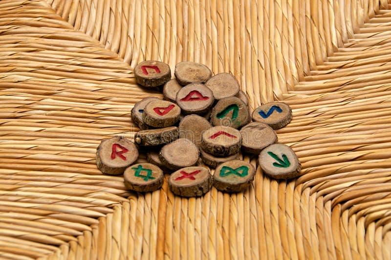Runes na rattan powierzchni fotografia royalty free