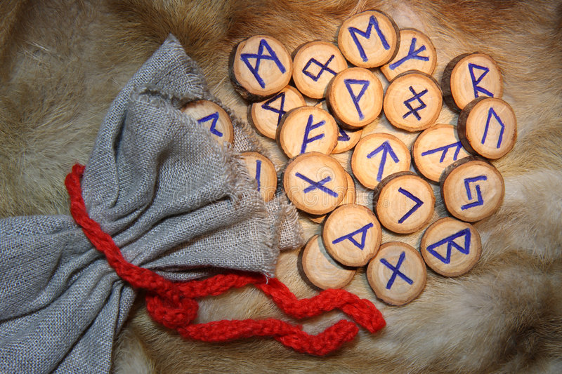 Runes with pouch stock image