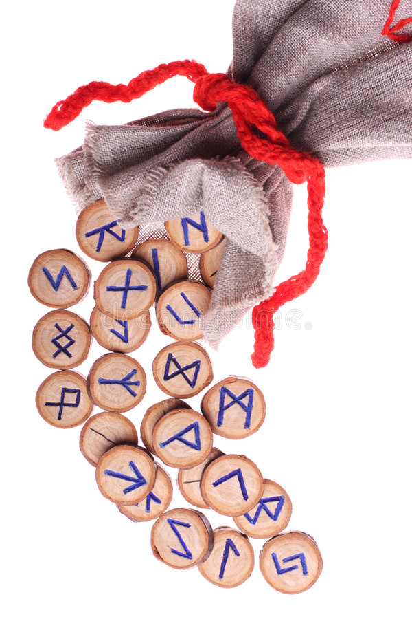 Runes and pouch isolated royalty free stock photography