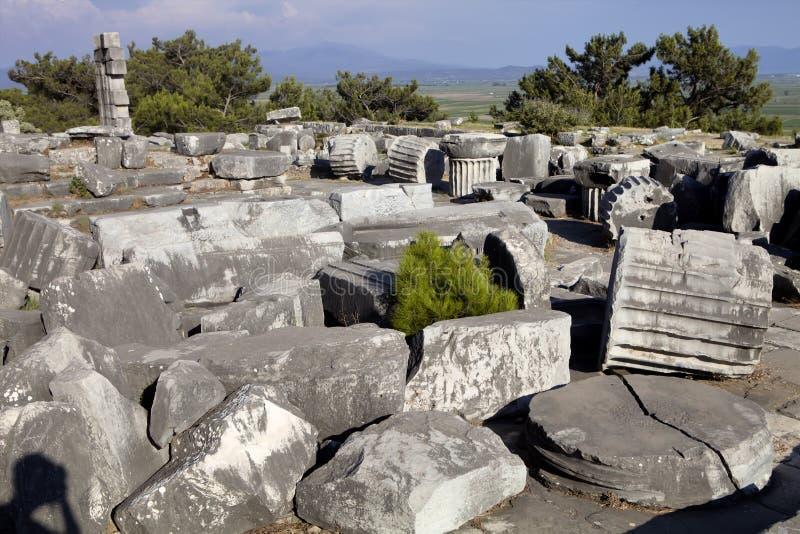 Runes Priene świątynia 4th wiek temu A M obrazy royalty free