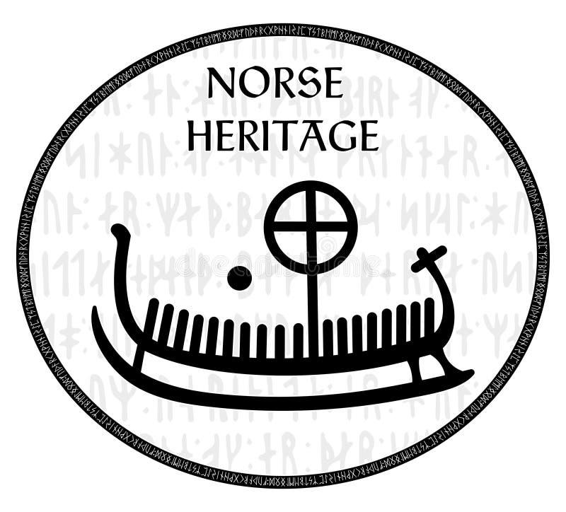 Runestone antigo com o teste padrão escandinavo gravado, drakkar ilustração do vetor
