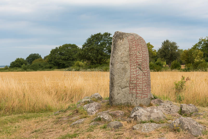 Runestone on the island Oland, Sweden. The Karlevi runestone near Faerjestaden ont the island Oland, one of the most important runestones in Sweden royalty free stock photography