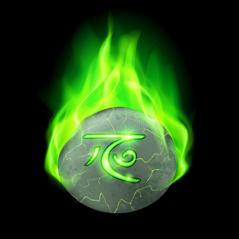 Runic stone. Ancient cracked stone with magic rune burning in green flame royalty free illustration