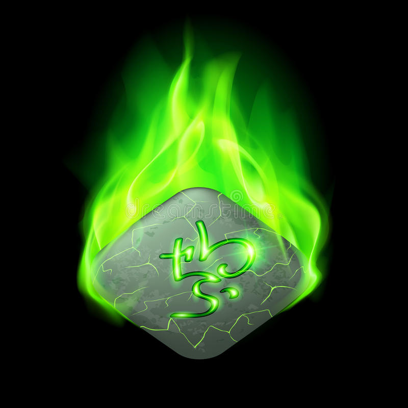 Runic stone. Ancient quadrangular stone with magic rune burning in green flame royalty free illustration