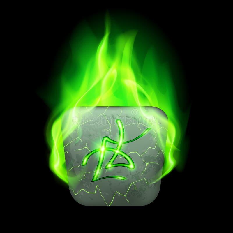 Runic stone. Ancient quadrangular stone with magic rune in green flame royalty free illustration