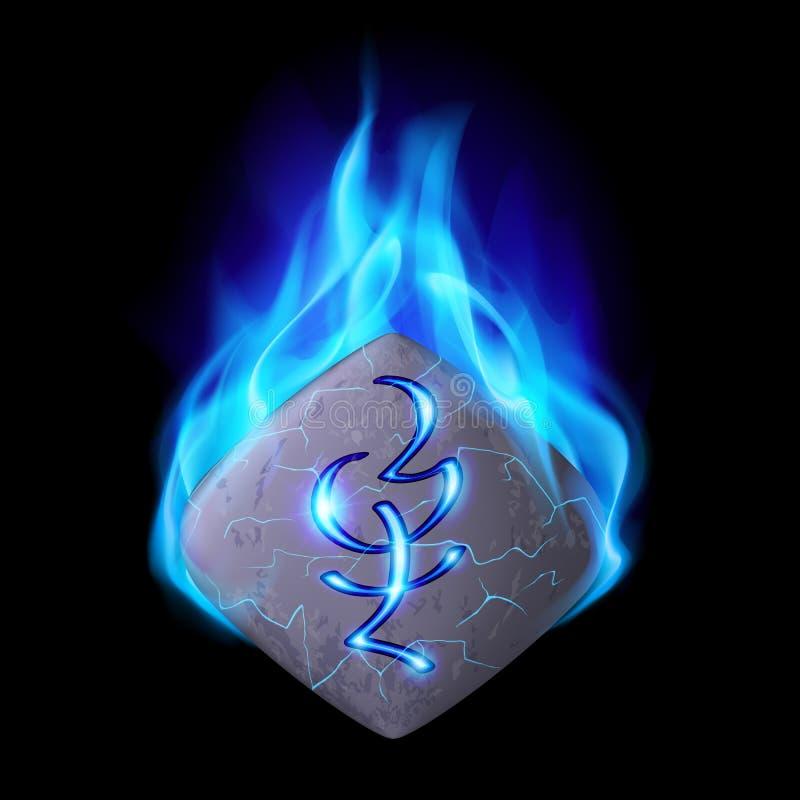 Runic stone. Cracked quadrangular stone with magic rune burning in blue flame vector illustration