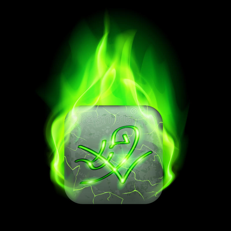 Runic stone. Mysterious rectangular stone with magic rune in green flame royalty free illustration
