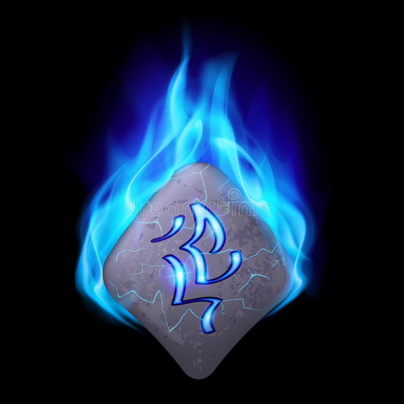 Runic stone. Secret bend stone with magic rune burning in blue flame vector illustration