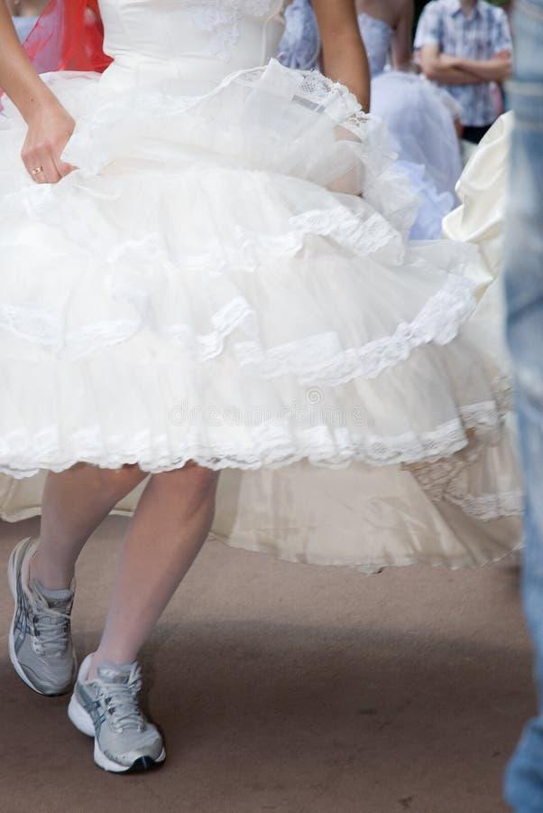 Runing bride royalty free stock image