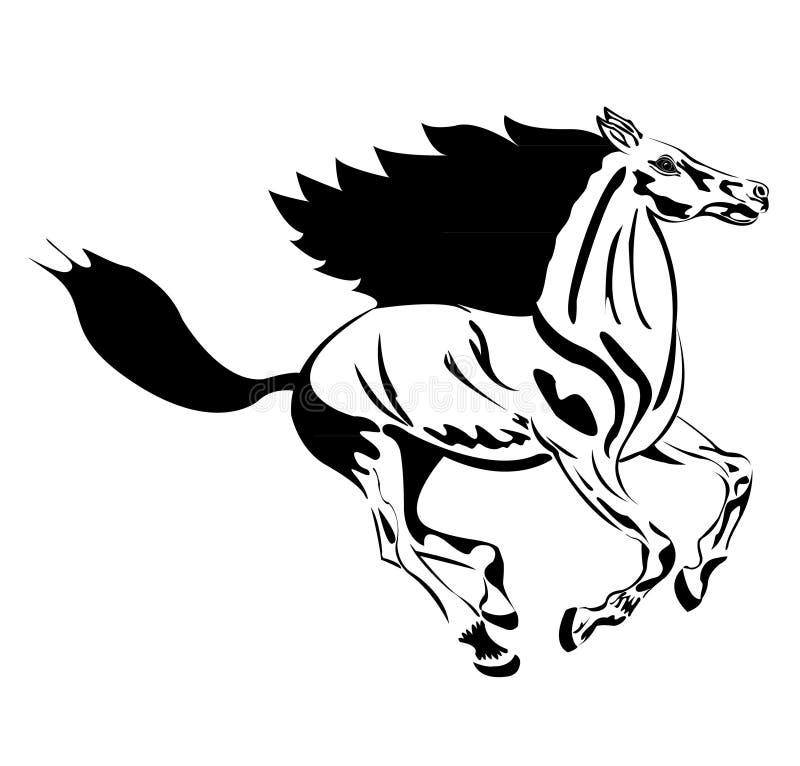 Runing Pferd. Schwarzes Schattenbild mit einigen Sonderkommandos vektor abbildung