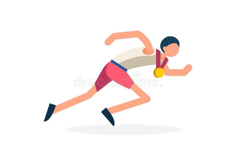 Runner Athlete Running Winner. Male person celebrate summer games athletics medal. Sportive people celebrating track and field running team. Runner athlete vector illustration