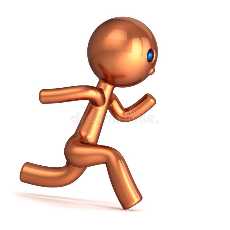 Runner character golden cartoon man sprinter go go go. Runner cartoon character man stylized champion number one 1 golden. motion guy run forward, fast chase stock illustration