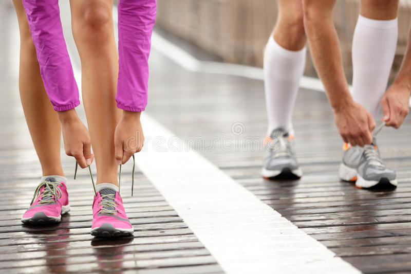 Runner feet stock images