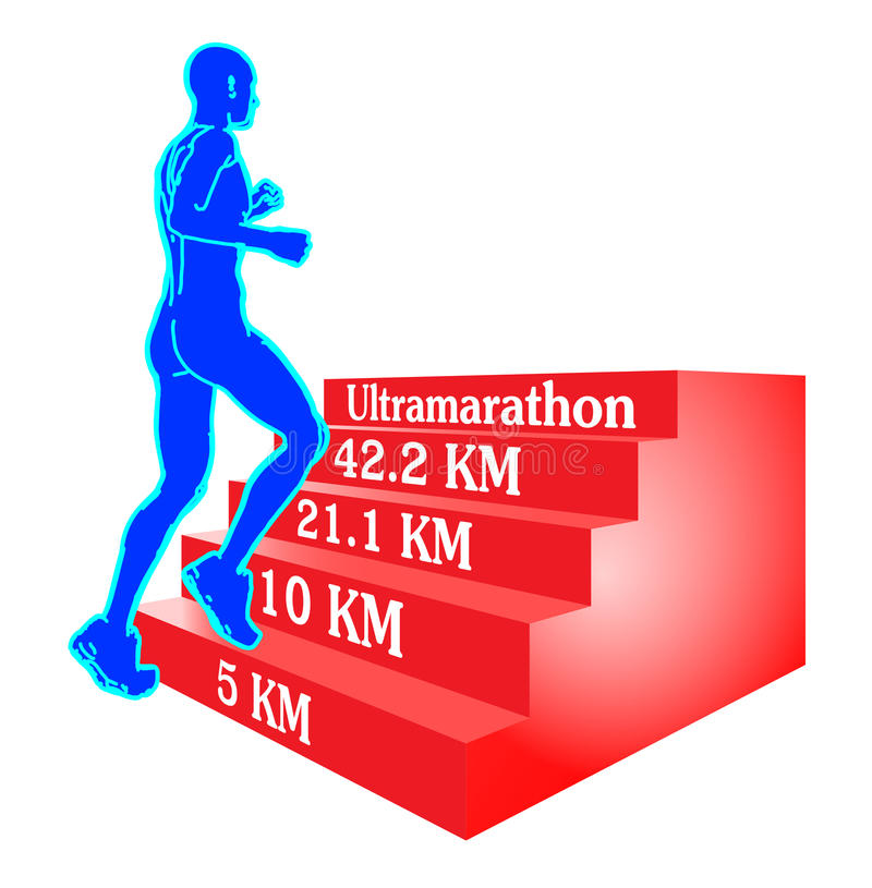 A Runner Goal And Training Programs Illustration. A runner aiming to run an ultramarathon with the help of a step by step training program vector illustration