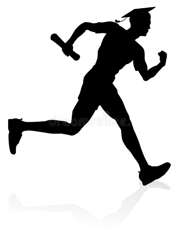 Runner Graduate Education Concept. Education concept of a man running in a race wearing a graduation mortar board hat and holding a diploma scroll vector illustration