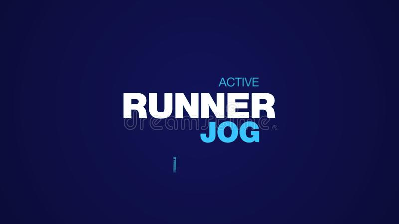 Runner jog healthy jogger lifestyle fit fitness sport exercise female people animated word cloud background in uhd 4k. 3840 2160 stock illustration