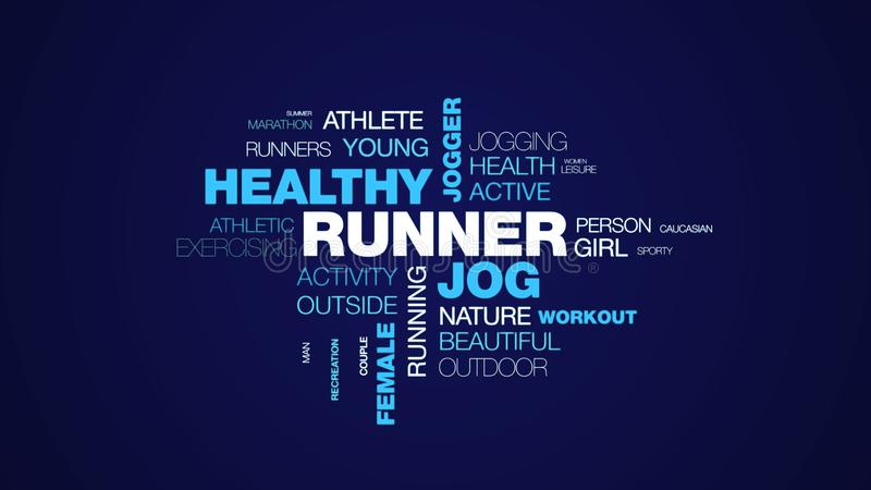 Runner jog healthy jogger lifestyle fit fitness sport exercise female people animated word cloud background in uhd 4k. 3840 2160 royalty free illustration