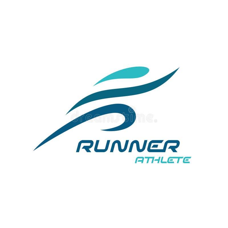 Runner logo. Fast simple stylized athlete figure. Sport run man figure stock illustration