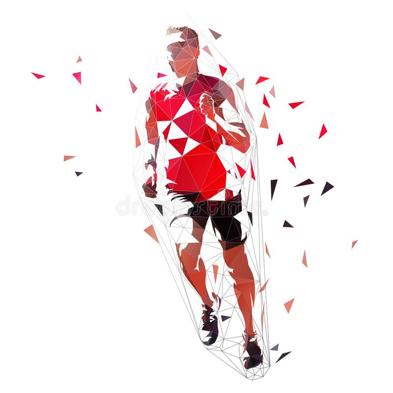 Runner, low polygonal vector illustration. Geometric sprinter, front view. Adult running man. Sprinting athlete in red shirt royalty free illustration
