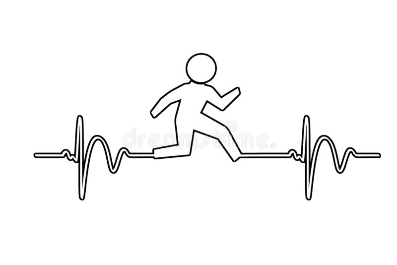 Runner makes his heart stronger . cardiogram concept isolated on white background . illustration  design. Hand, drawn, drawing, retro, simple, logo, woman vector illustration