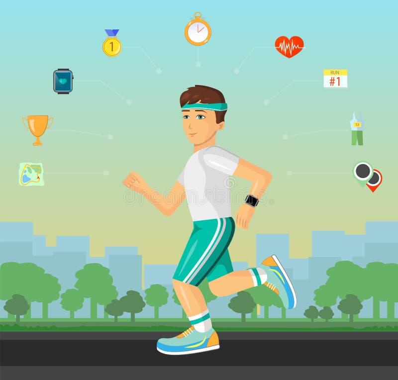 Runner men running on the street with set of flat material design sport fitness icons. stock illustration