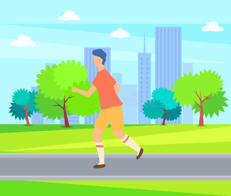 Runner Person on Walk, Guy Jogger in Sport Cloth. Runner person on walk, jogging guy jogger in sport cloth. Vector sportive boy running in park with houses and stock illustration