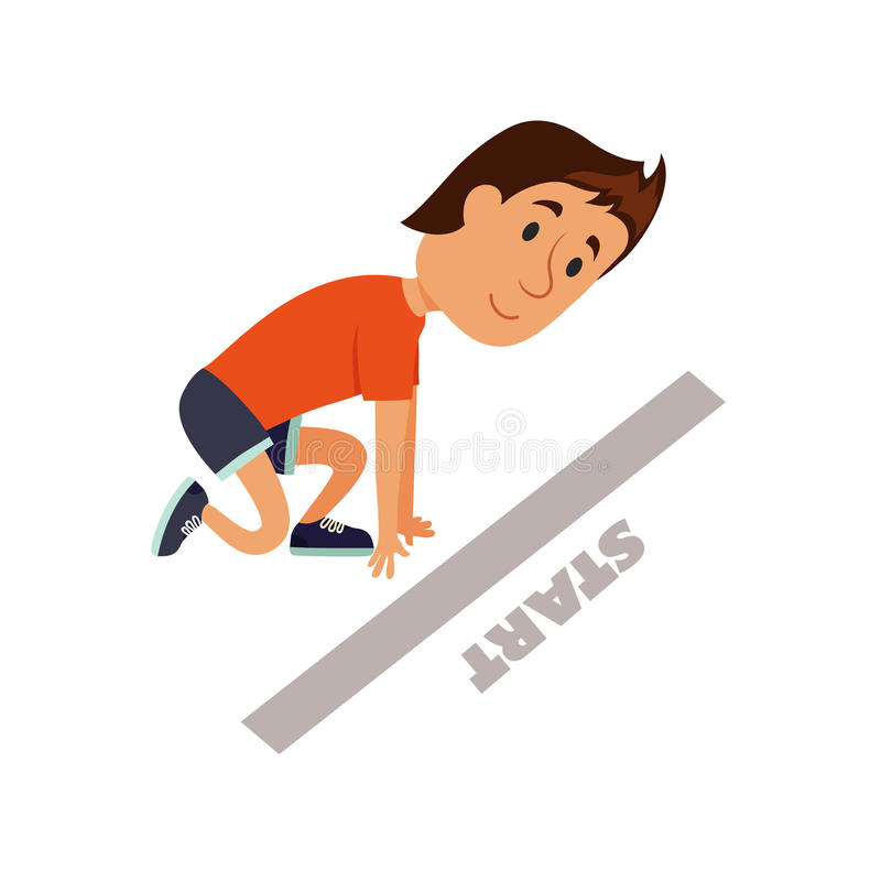 Runner ready to start. stock illustration