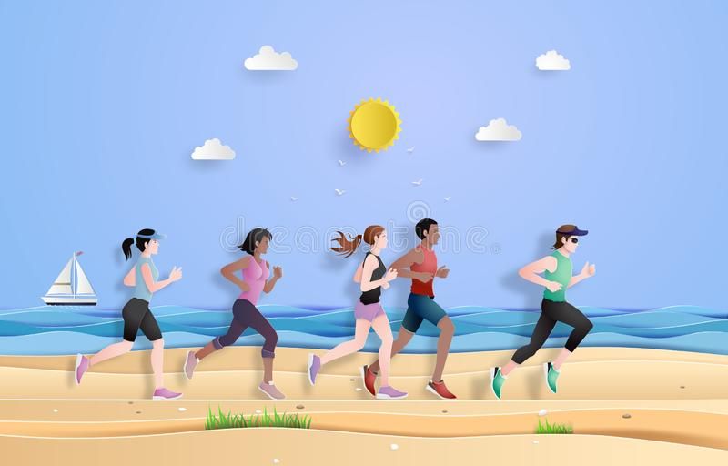 Runner are running on the beach. Paper cut, runner are running on the beach in the summer season royalty free illustration