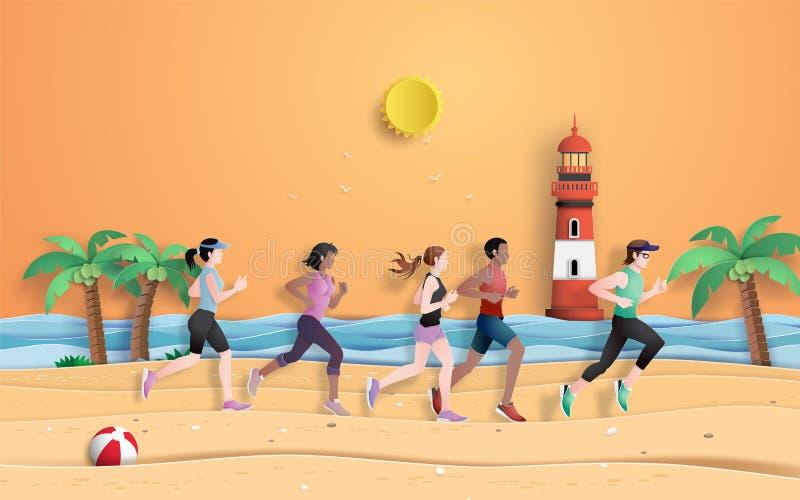 Runner are running on the beach. Paper cut, runner are running on the beach in the summer season,paper art style stock illustration