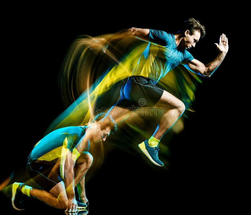 Runner running jogger jogging man isolated light painting black background royalty free stock photos