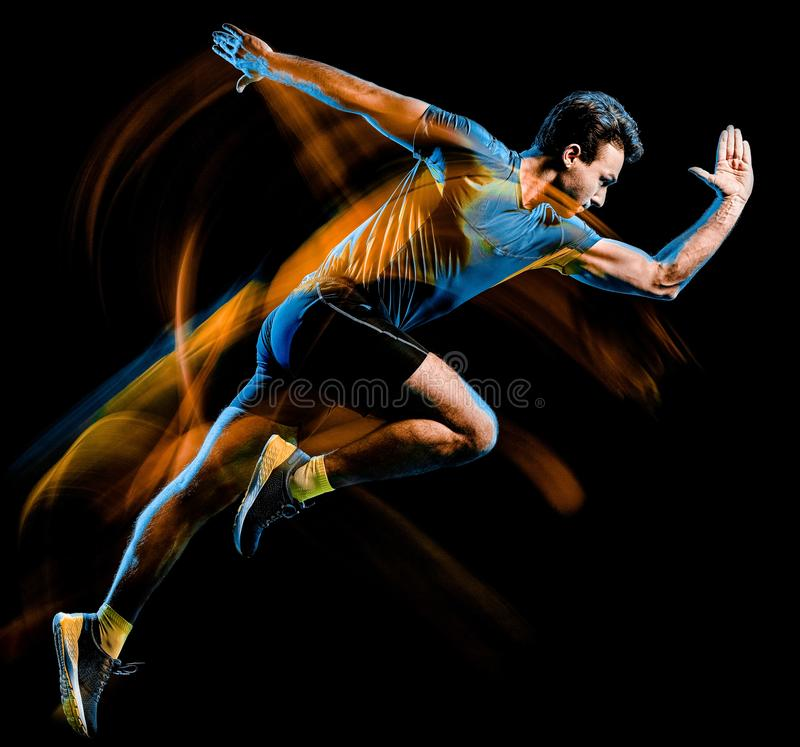 Runner running jogger jogging man isolated light painting black background royalty free stock image