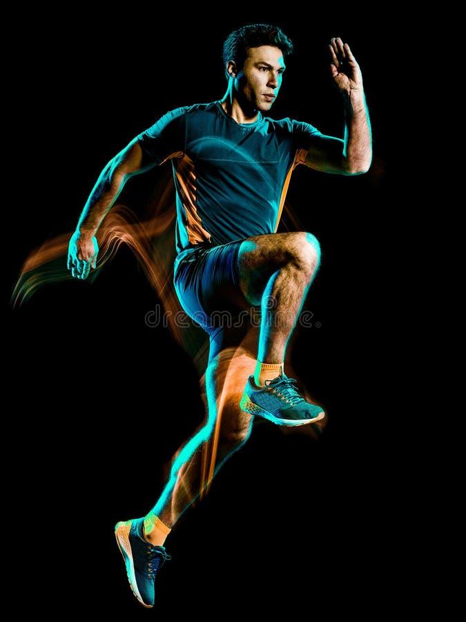 Runner running jogger jogging man isolated light painting black background stock photos